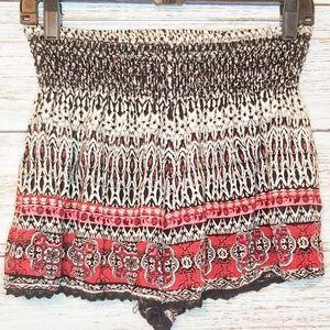 Angie Shorts Black White Red Aztec Boho Design L